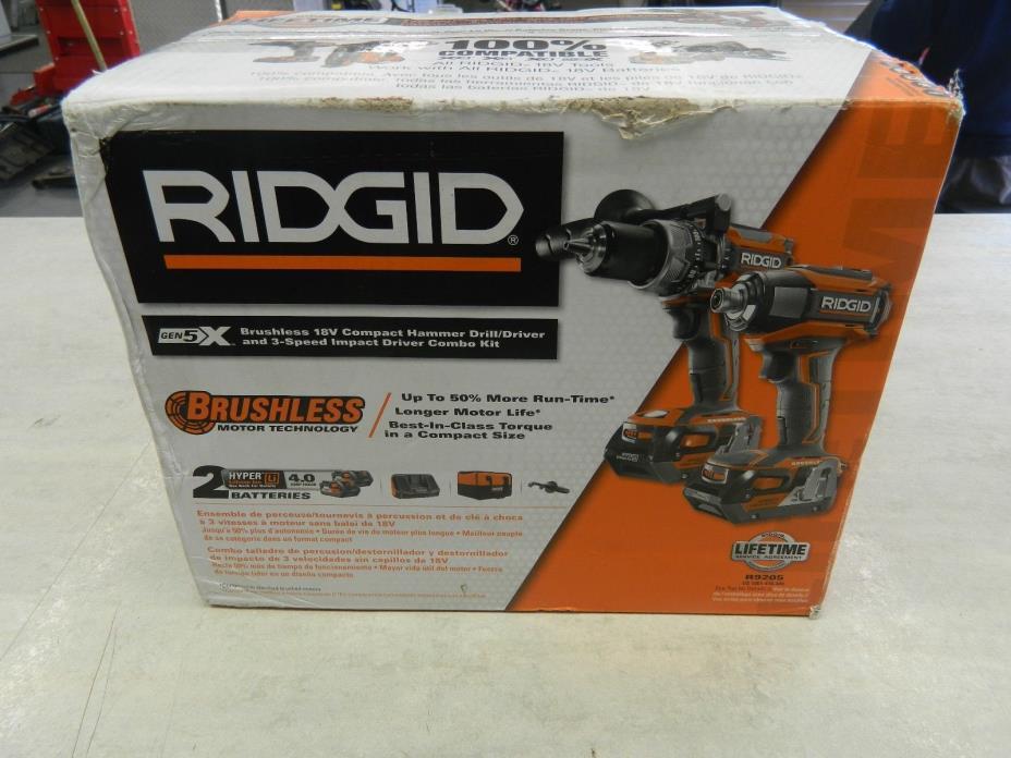 Ridgid R9205 18V GEN5X Hammer Drill & Impact Driver Combo Kit BRAND NEW