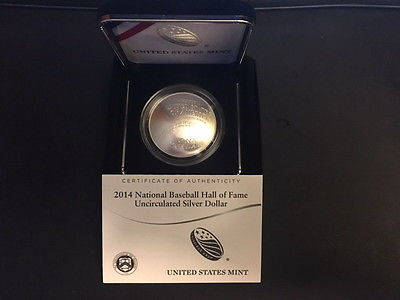 2014 BASEBALL HALL OF FAME $1 SILVER CURVED UNCIRCULATED COIN, ORIG PKG, COA