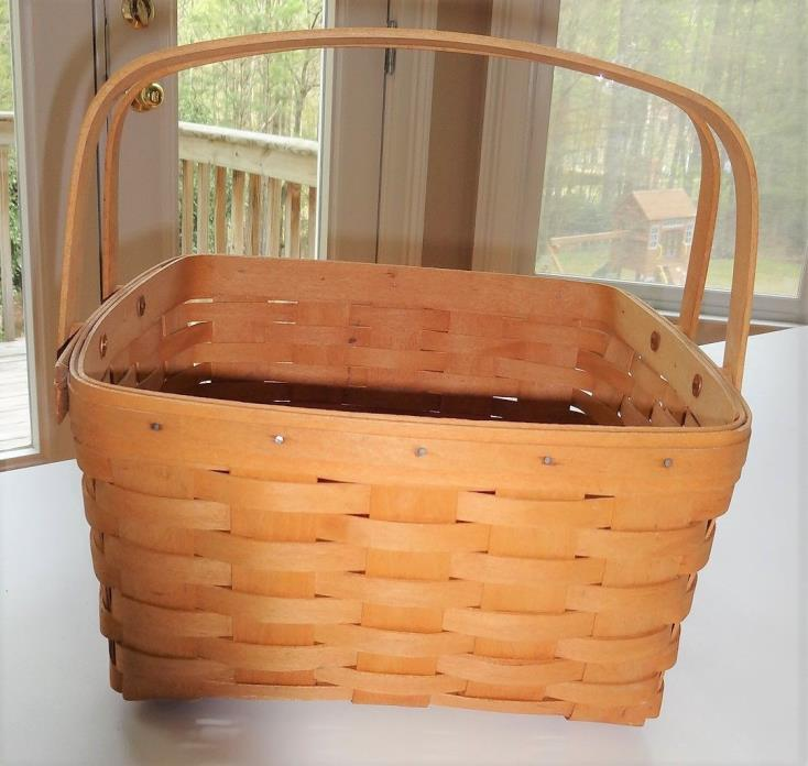 1996 Longaberger Basket Handwoven Gathering with Handles Medium EUC
