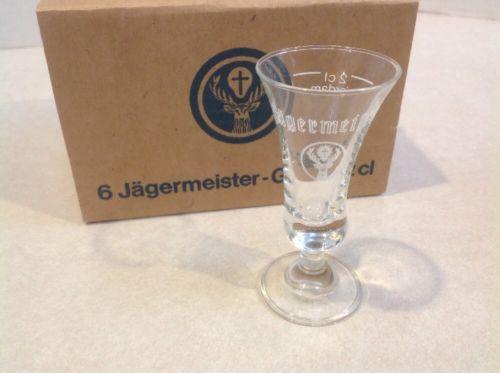 Vtg Set of 6 Jagermeister Liquor Shot Glasses  2cl  Cordial Stemmed Footed