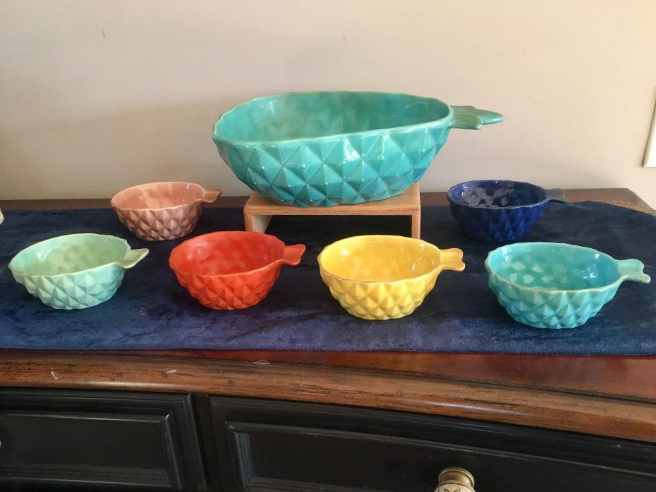 Vintage Red Wing Pottery Gypsy Trail 7 Piece  Pineapple Bowl Set Rare & PERFECT!