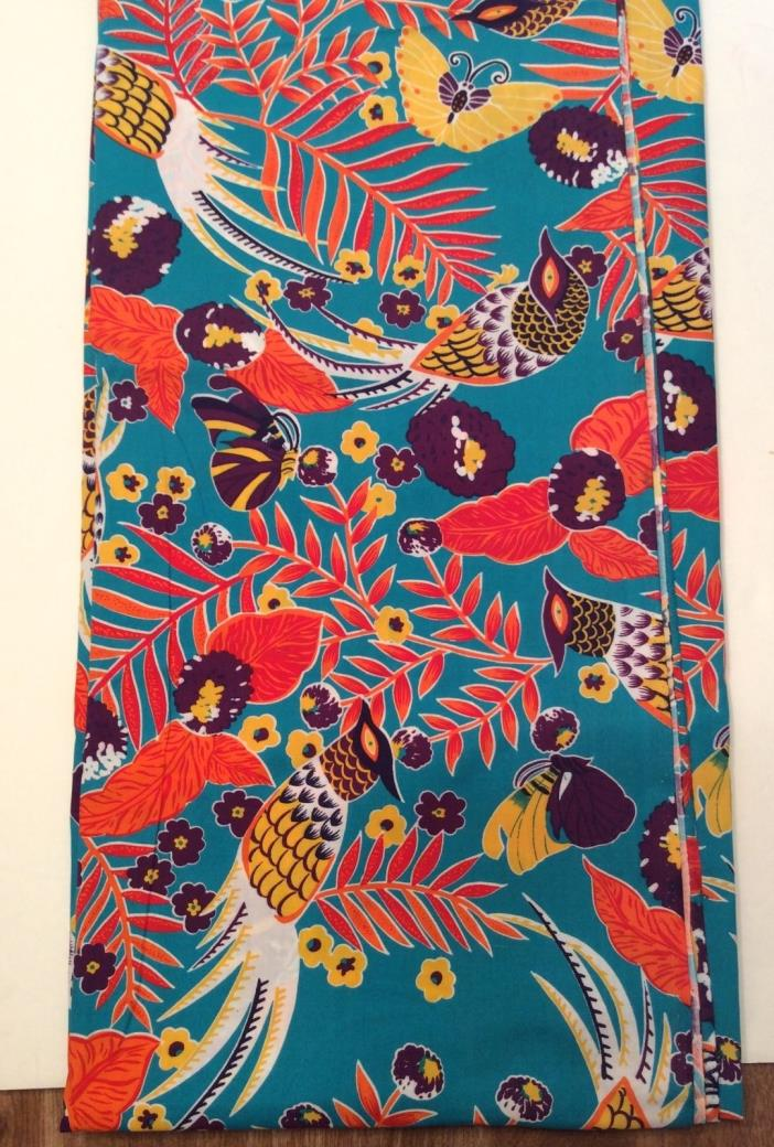 Vtg Birds Butterfly Cotton Quilt Sew Fabric 3 yards x 44