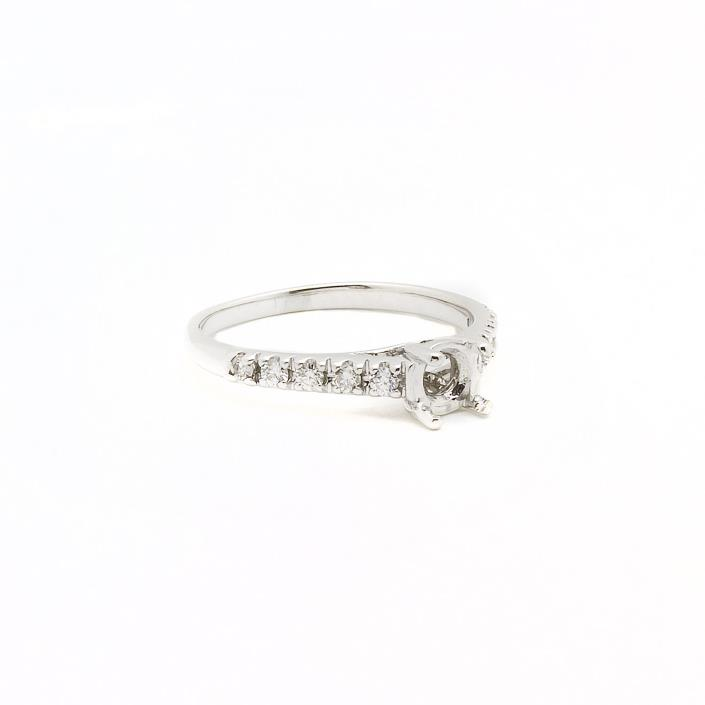 14k White Gold Diamond Engagement Ring Setting Semi Mount  0.50ct  Size 7