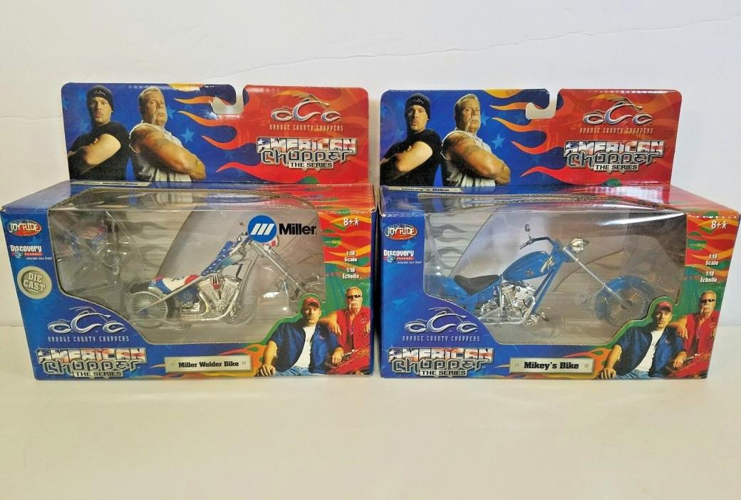 2 Orange County Choppers American Choppers 1:18 Scale Mikey's, Miller Welder's