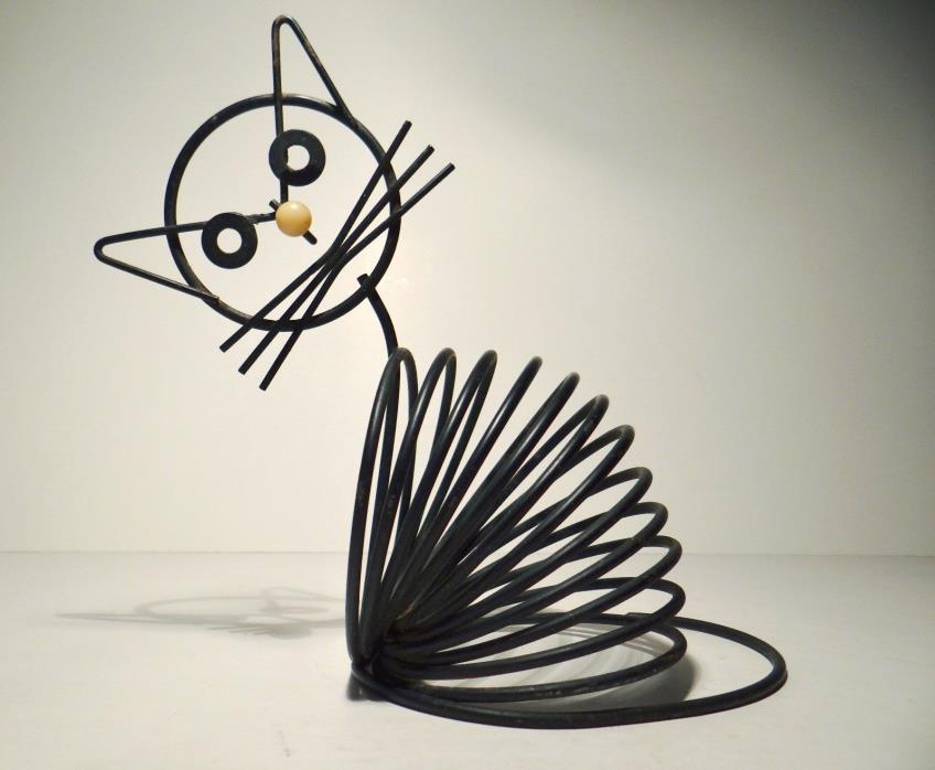 Vintage Coil Spring Wire Frame Black Cat Letter Holder