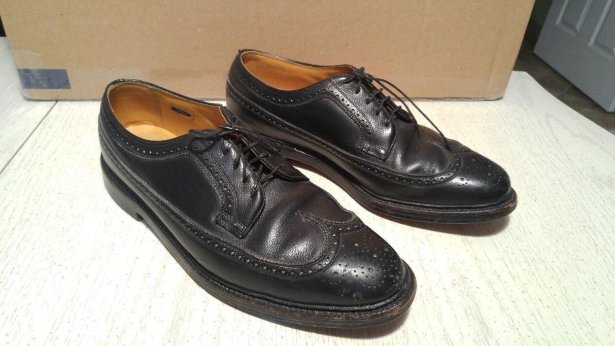 Vintage Florsheim Imperial Wingtip V Cleat 5 Nail Black Size 11.5 D