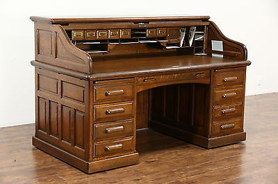 Oak Quarter Sawn Antique 1895 Roll Top Desk, Raised Panels