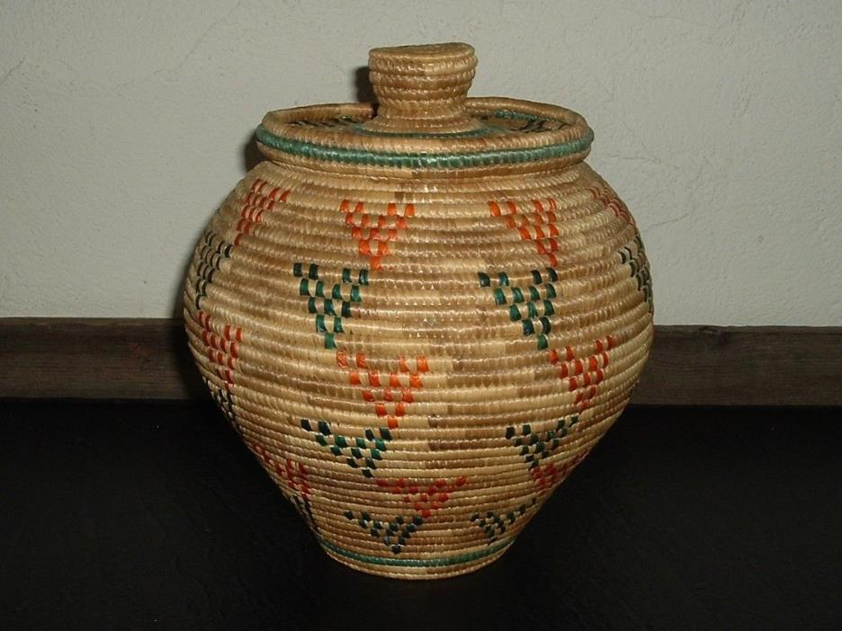Vintage Alaskan Inuit Kipnuk Native Lidded Basket