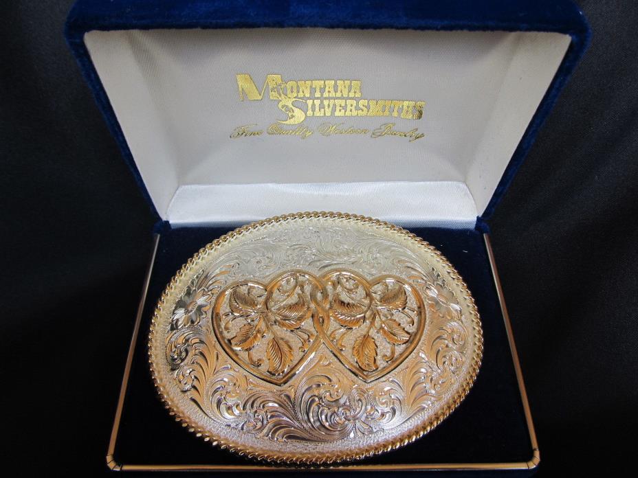 Gorgeous Double Heart Ladies Belt Buckle, Montana Silversmiths, Silver Plate NIB