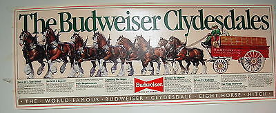 BUDWEISER BEER POSTER-NEW OLD STOCK   14 X 36 INCHES