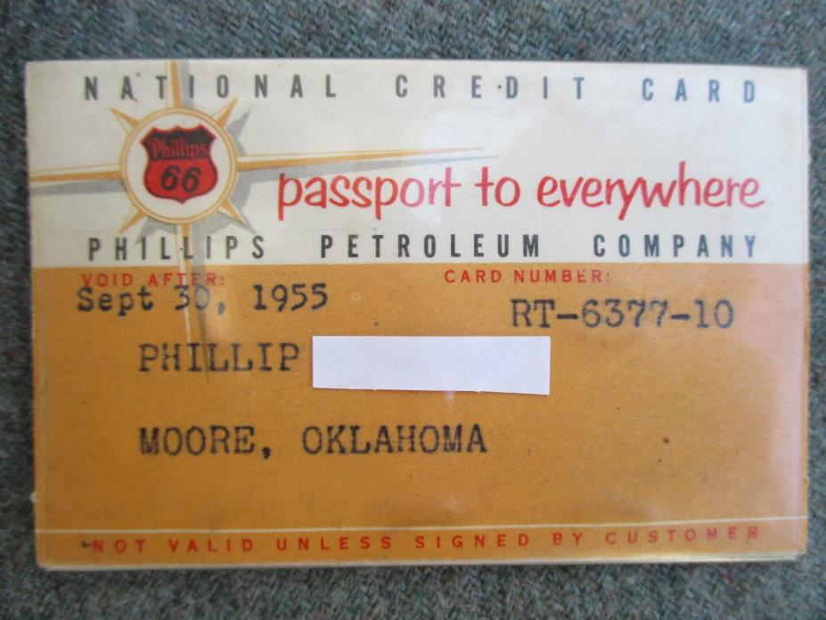 VINTAGE 1955 PHILLIPS 66 SERVICE STATION GAS & OIL CREDIT CARD PHIL-MATIC TAG
