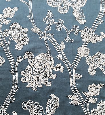 COLEFAX & FOWLER Lace Tree Blue White Embroidery Floral Linen Remnant New