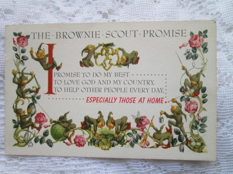 VINTAGE  BROWNIE SCOUT PROMISE POSTCARD