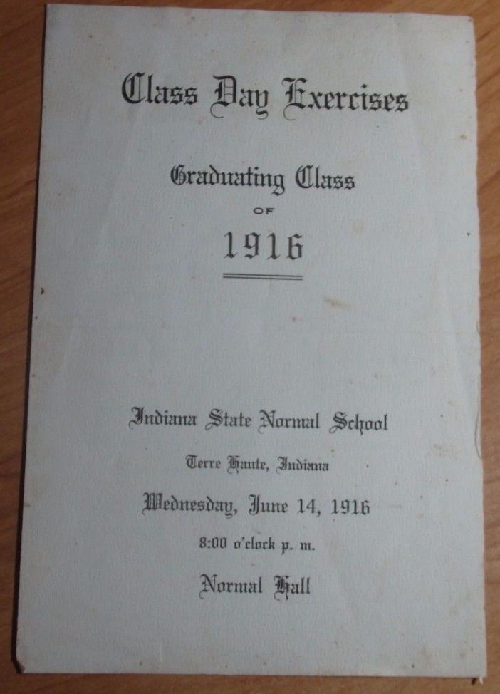 1916 GRADUATING CLASS ANNOUNCEMENT INDIANA STATE NORMAL SCHOOL TERRE HAUTE IN
