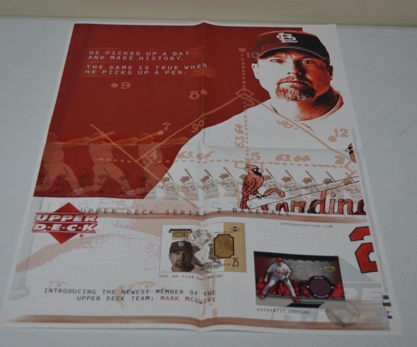 2002 18 X 24 UPPERDECK CARDS MARK MCGWIRE POSTER ST LOUIS CARDINALS MLB BASEBALL