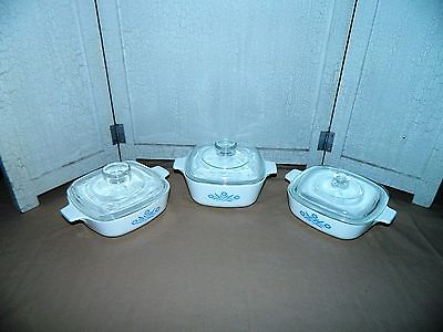 CORNING WARE CORNFLOWER BLUE LOT OF 3 LIDDED CASSEROLE DISHES
