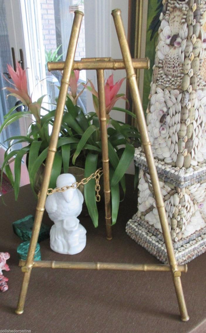 HOLLYWOOD REGENCY ENORMOUS GILT GOLD TOLE SPAIN FLORENTINE FAUX BAMBOO EASEL