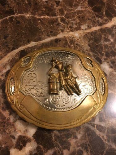 Vintage German Silver Brass Cowgirl Barrell Racer Trophy Belt Buckle .