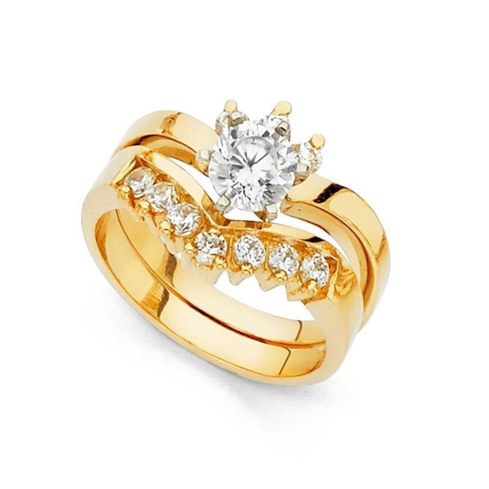 14k Yellow Gold Round CZ Engagement Ring & Wedding Band Bridal Rings Set V Shape