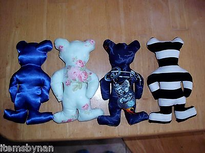 Baby's first safety toy bear. Handmade Cotton Motorcycle fabric cotton stuffing