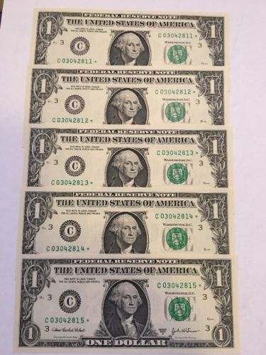 5 2003 $1 FEDERAL RESERVE *STAR* Notes Philadelphia UNC Consecutive