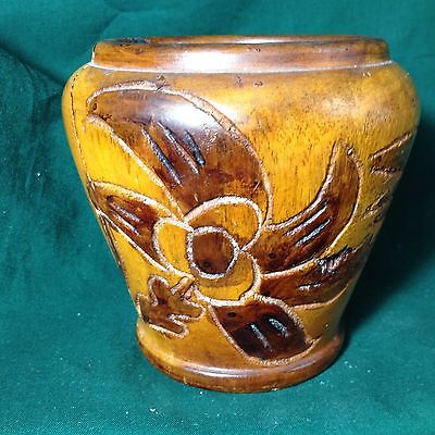 Handcarved Wood Pot 3.875