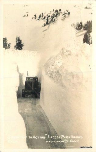 1944 Snow Blower action Lassen Park Highway California Eastman RPPC Real Photo