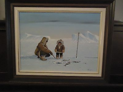 ROBERT PAANANEN ACRYLIC PAINTING-1982-THE LEARN BY WATCHING-18X24-ESKIMO