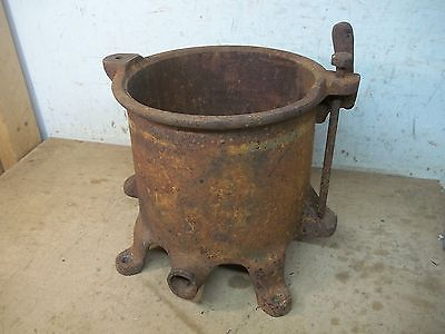 Old Cast Iron Footed Sausage Stuffer Fruit Press for Garden Planter Flower Pot