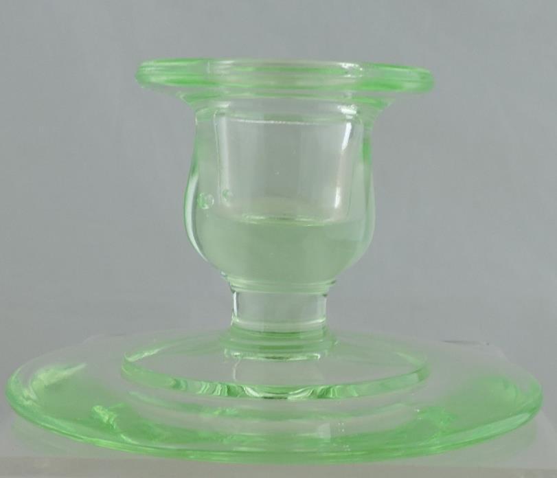 VINTAGE URANIUM GREEN DEPRESSION GLASS CANDLESTICK HOLDER