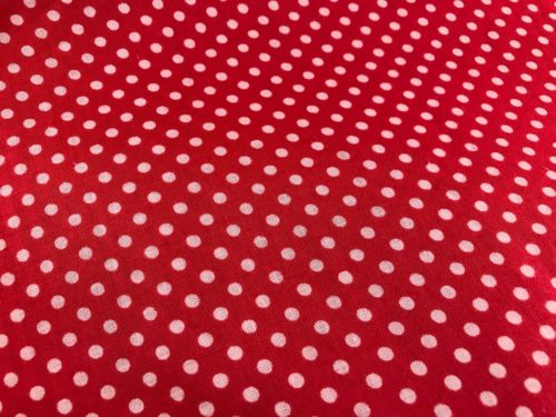 OVER 3 YARDS OF VINTAGE 1950'S ERA RED WITH WHITE POLKA DOTS COTTON FABRIC