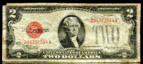 US Currency 1928 D $2 Two Dollar United States Note Red Seal FR 1505 Mule