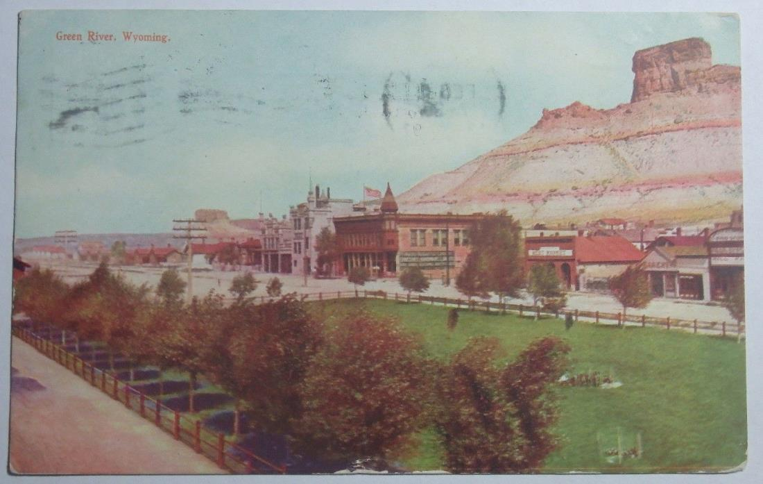 1907 POSTCARD OF GREEN RIVER WYOMING SENT TO ENGLEWOOD NEW JERSEY