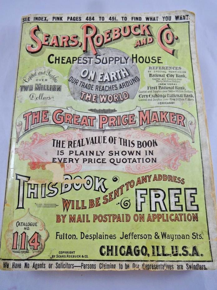Antique Sears Catalog 1905-1906 Genuine Original Not Reproduction #114 USA