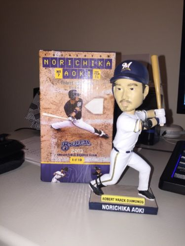 2013 Norichika Nori Aoki Retro Pinstripe Bobblehead Milwaukee Brewers Giants