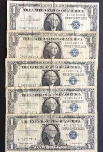 1957 $1  One Dollar SILVER CERTIFICATE  Lot of 5