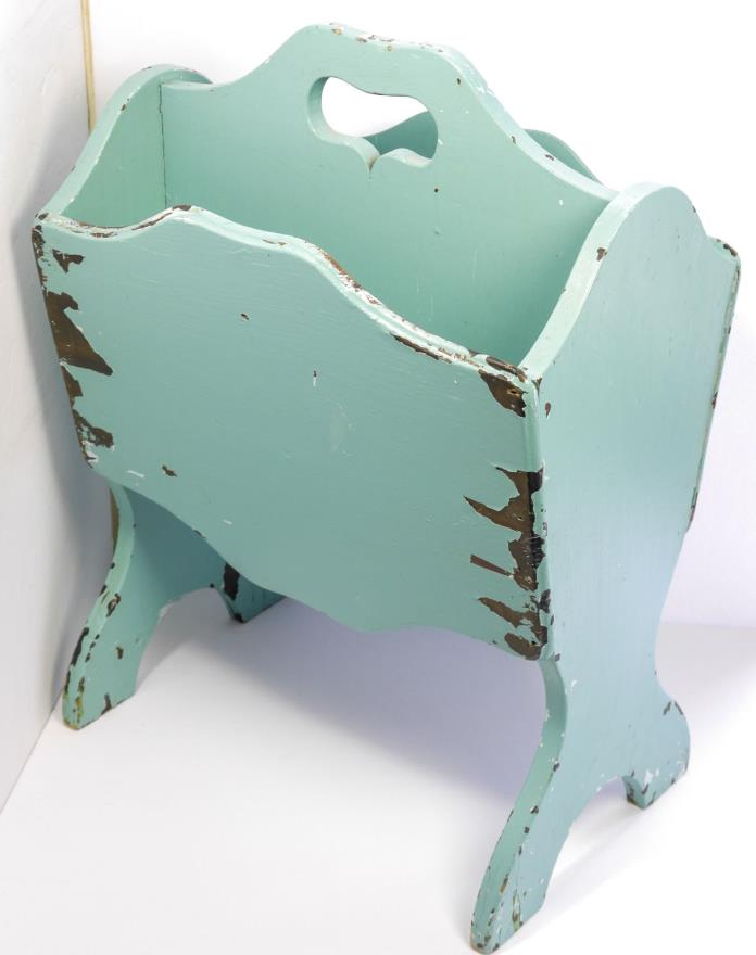 Vintage Wood Magazine Rack Stand Eggshell Blue Chippy Paint