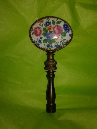 Vintage Lamp Finial Ceramic Romantic Pink Roses Blue Flowers and Extender