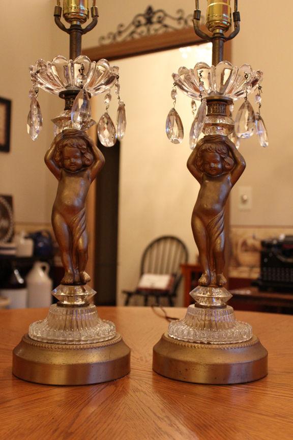 2 Vtg Italian Cherub Brass Crystal Prisms Lamps Hollywood Regency