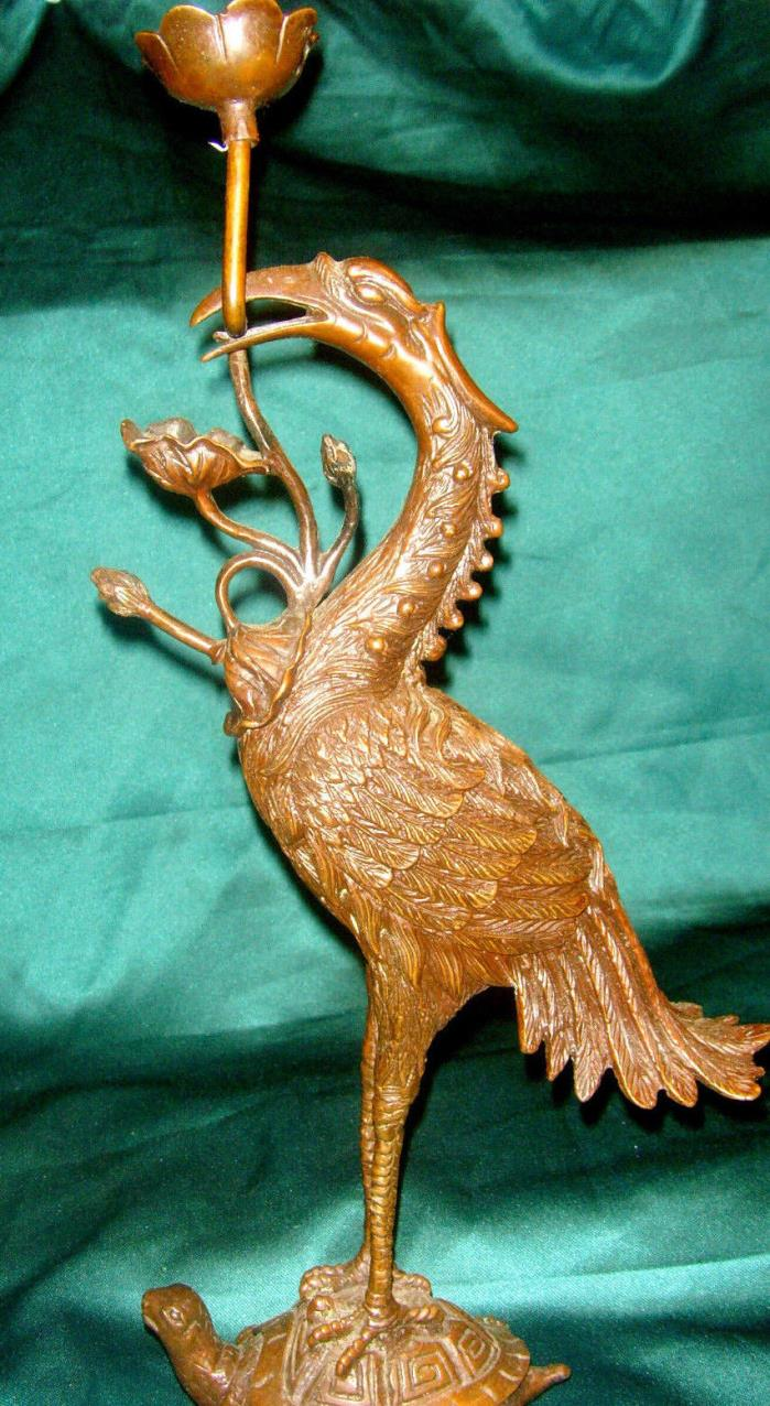 Antique Brass Crane.Standing on Turtle Top Stork Stature,high 14 inch