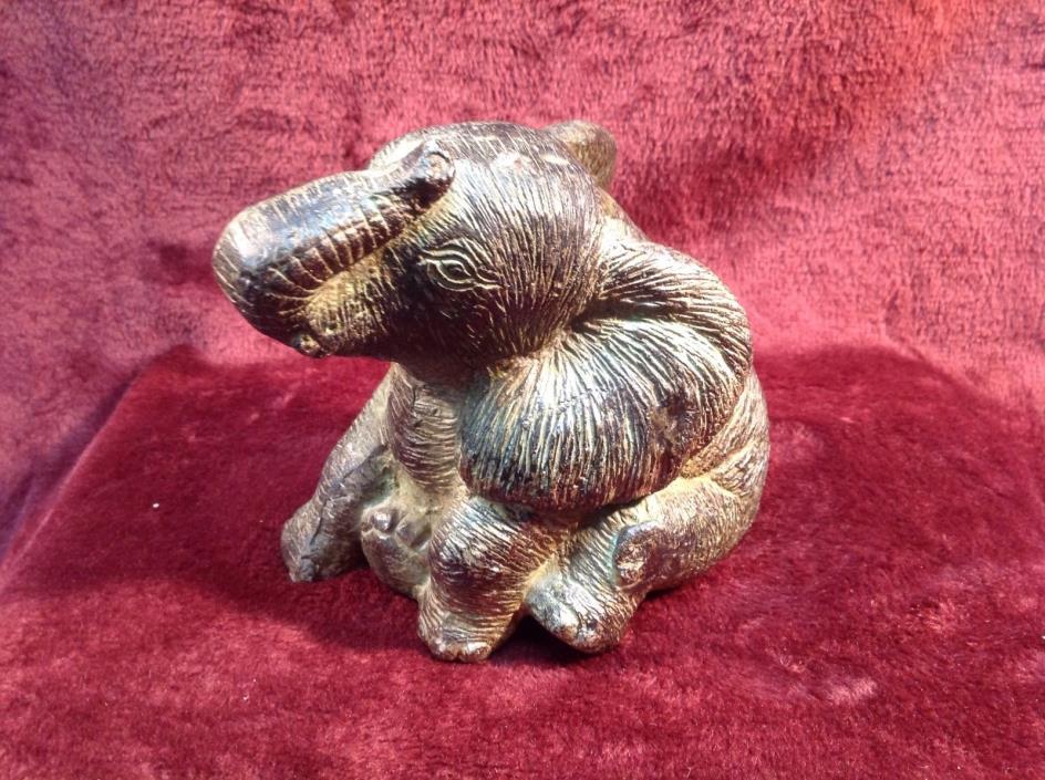 ANTIQUE LARGE BRONZE  elephant sculpture unique