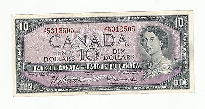 1954 TEN DOLLAR CANADIAN BANK NOTE BEATTIE RASMINSKY CIRCULATED VT 5312505