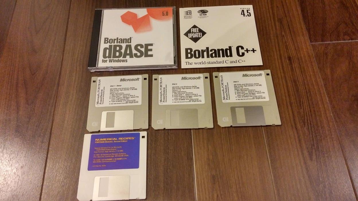 Vintage software Microsoft Fortran PowerStation  Borland dBase 5.0 and C++ 4.5