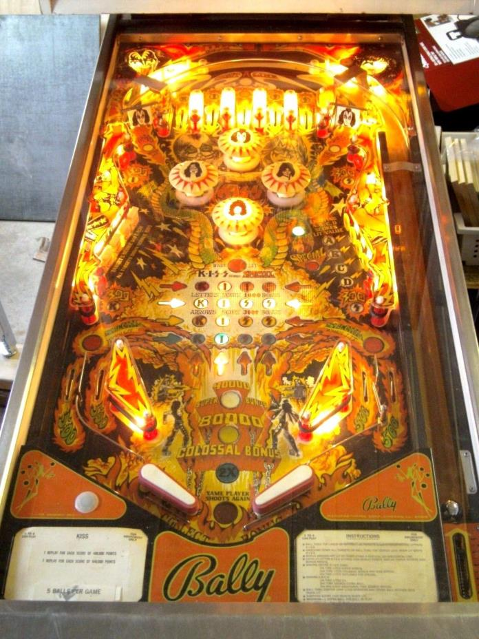 NICE ORIGINAL KISS PINBALL MACHINE 1978 4 PLAYER WO