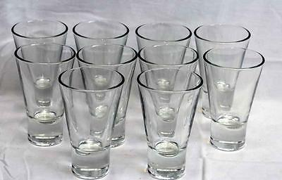 Set of 10 Shot Glasses 5 Ounce Tall Style Made in Italy Used