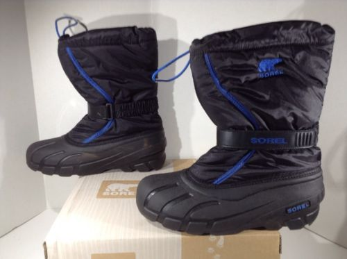 SOREL Youth Flurry Black Blue Winter Snow Mid Calf Boots Shoes Size 7 Y WB-542