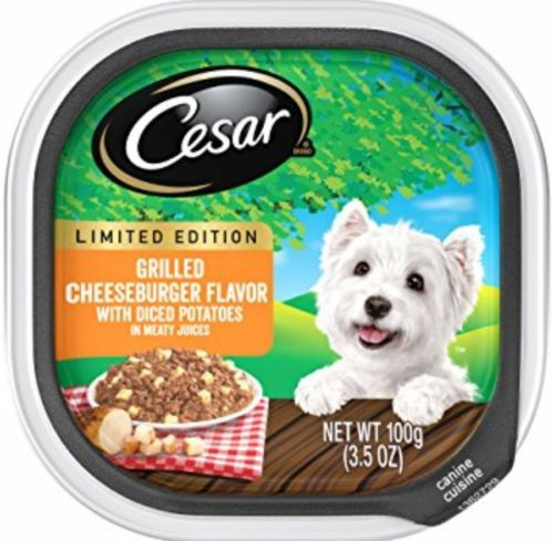 (2) CEASER GRILLED CHEESEBURGER FLAVOR DOG FOOD 3.5 OZ EACH NEW WET