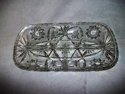 Vintage American Brilliant Period ABP Cut Glass Divided Compartment Relish Dish