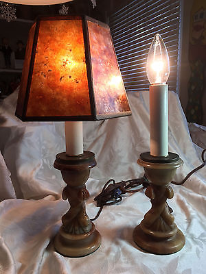 Vintage Carved Marble Dolphin Candlestick Lamps (2)