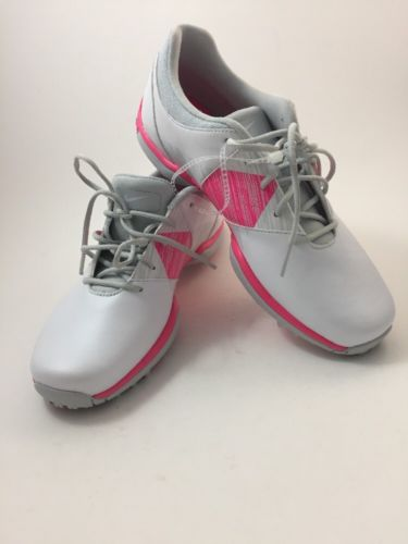 NIKE DELIGHT V GOLF WATER RESISTANT SHOES, WOMEN SIZE 8, WHITE/PINK, 651997 102